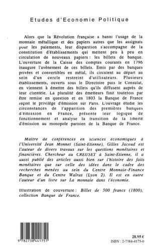 Le billet de banque en France, 1796-1803. De la diversité au monopole