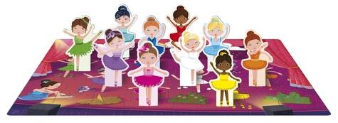 Apprends les couleurs avec les danseuses. Avec 1 puzzle de 40 pièces, 10 danseuses prédécoupées