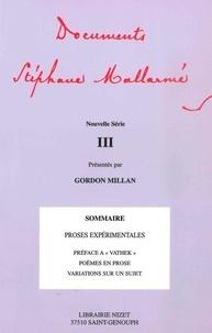 Gordon Millan - Dcouments Stéphane Mallarmé : nouvelle série 3.