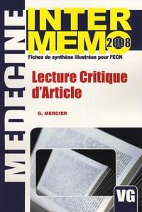 Grégoire Mercier - Lecture critique d'article.
