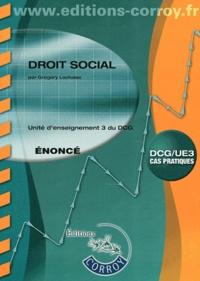 Droit social UE 3 du DCG- Enoncé - Grégory Lachaise |