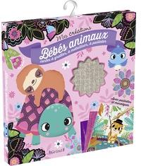 Gründ - Bébés animaux - Contient : 2 cartes à gratter avec un bâtonnet, 2 cartes à métalliser et à pailleter, 3 cartes à compléter avec 300 mosaïques.
