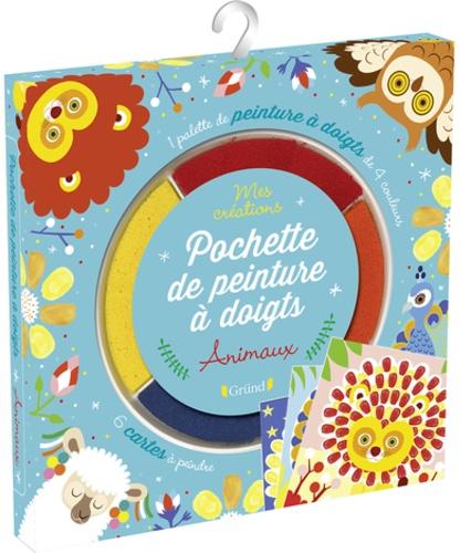 Pochette de peinture à doigts animaux. Avec 6 cartes à peindre et une palette de 4 couleurs