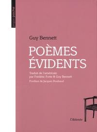 Guy Bennett - Poèmes évidents.