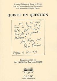 Guy Lavorel et Laurence Richer - Quinet en question.
