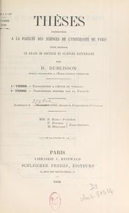 H. Dubuisson et  Faculté des sciences de l'Univ - Contribution à l'étude du vitellus - Thèse présentée à la Faculté des sciences de l'Université de Paris pour obtenir le grade de Docteur ès sciences naturelles.