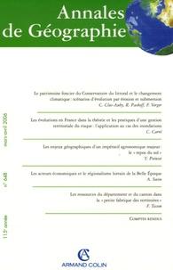 Roland Paskoff - Annales de Géographie N° 648, Mars-Avril 2 : .