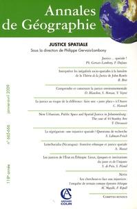 Philippe Gervais-Lambony - Annales de Géographie N° 665-666, Janvier- : Justice spatiale.