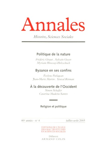 Sylvain Guyot et Myriam Houssay-Holzschuch - Annales Histoire, Sciences Sociales N° 4, Juillet-Août 2 : .