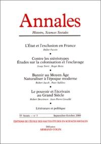 Armand Colin - Annales Histoire, Sciences Sociales N° 5 Septembre-Octobre 2000.