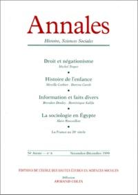 Armand Colin - ANNALES HISTOIRE, SCIENCES SOCIALES N° 6 NOVEMBRE-DECEMBRE 1999.