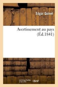 Edgar Quinet - Avertissement au pays.