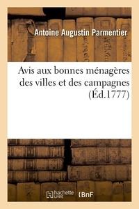 Antoine Parmentier - Avis aux bonnes ménagères des villes et des campagnes (Éd.1777).