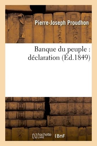 Banque du peuple : déclaration