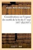 Gaudin - Considérations sur l'exposé des motifs de la loi du 17 mai 1837, portant création d'un fonds.