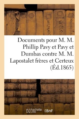 Hachette BNF - Cour impériale de Paris, 2e Chambre. Documents pour M. M. Phillip Pavy et Pavy et Dumbas.
