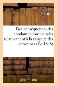Hanin - Des conséquences des condamnations pénales relativement à la capacité des personnes.