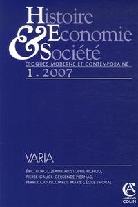 Eric Durot et Jean-Christophe Fichou - Histoire, Economie & Société Mars 2007 : .