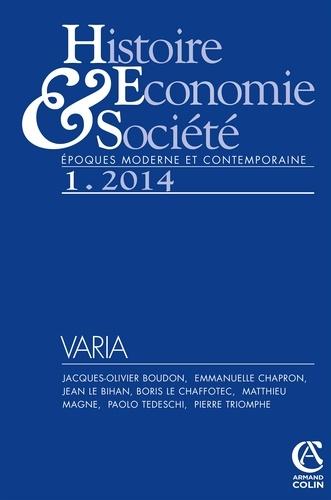 Nathalie Jouven - Histoire, Economie & Société N° 1, Mars 2014 : Varia.