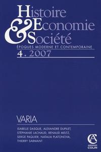 Isabelle Dasque et Alexandre Dupilet - Histoire, Economie & Société N° 4, Décembre 2007 : .
