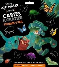 Hachette Jeunesse - Cartes à gratter trompe-l'oeil Disney animaux - Les ateliers. Contient : 1 livret, 7 cartes, 1 stylet.