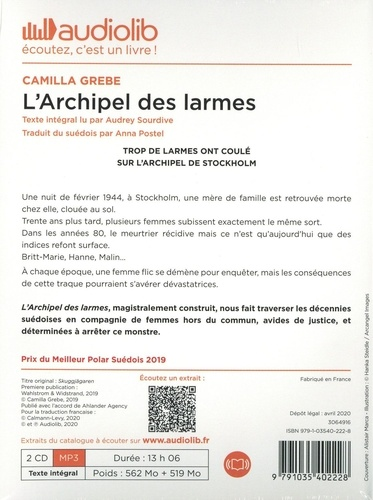 L'archipel des lärmes  avec 2 CD audio MP3