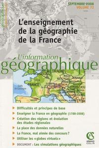 Bernard Elissalde et Denis Retaillé - L'information géographique N° 72, Septembre 200 : L'enseignement de la géographie et de la France.