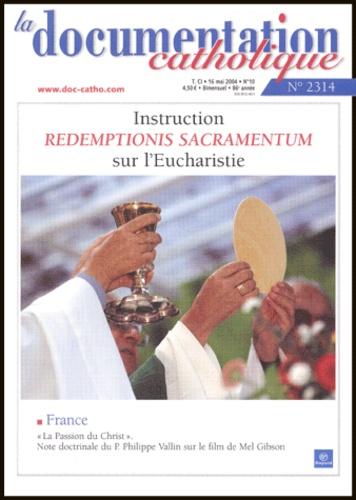 Vincent Cabanac et Francis Arinze - La documentation catholique N° 2314, 16 mai 2004 : Redemptionis Sacramentum - Instruction sur l'Eucharistie.