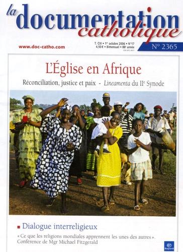 Vincent Cabanac et  Collectif - La documentation catholique N° 2365, Octobre 200 : L'Eglise en Afrique.
