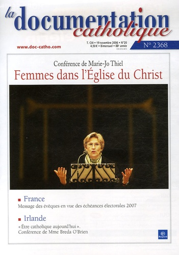 Vincent Cabanac - La documentation catholique N° 2368, 19 Novembre : Femmes dans l'Eglise du Christ.