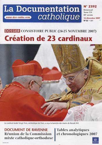 Vincent Cabanac - La documentation catholique N° 2392, 16 décembre : Consistoire public (24-25 Novembre) - Création de 23 cardinaux.