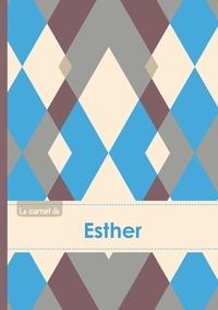 XXX - Le carnet d'Esther - Lignes, 96p, A5 - Jacquard Bleu Gris Taupe.