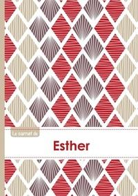 XXX - Le carnet d'Esther - Lignes, 96p, A5 - Pétales Japonaises Violette Taupe Rouge.