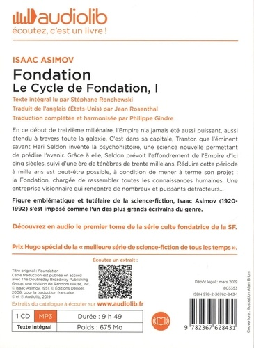 Le cycle de Fondation Tome 1 Fondation -  avec 1 CD audio MP3