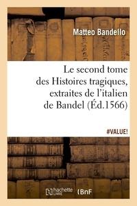 Matteo Bandello - Le second tome des Histoires tragiques , extraites de l'italien de Bandel, (Éd.1566).