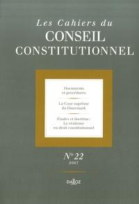 Conseil constitutionnel - Les Cahiers du Conseil constitutionnel N° 22/2007 : .