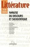Laurence Rosier et Ruth Amossy - Littérature N° 140 Décembre 2005 : Analyse du discours et sociocritique.