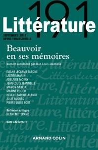 Jean-Louis Jeannelle - Littérature N° 191 : Beauvoir en ses Mémoires.