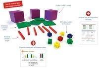 Didier Fritz et Catherine Vilaro - Matériel de manipulation en mathématiques Cycle 2 - 600 cubes-unités de 4 couleurs, 40 barres-dizaines rouges, 30 plaques-centaines vertes, 3 cubes-milliers violets, 33 posters mémo pour l'affichage, un mode d'emploi.