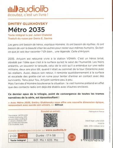 Métro 2035  avec 2 CD audio MP3