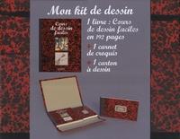 Hachette - Mon kit de dessin - 1 livre : Cours de dessin faciles; 1 carnet de croquis; 1 carton à dessin.