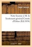 Cappe - Note fournie au comte d'Erlon, Gouverneur des possessions françaises d'Afrique du nord.