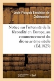 Berthier - Notice sur l'intensité de la fécondité en Europe, au commencement du dix-neuvième siècle.