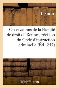 Hamon - Observations de la Faculté de droit de Rennes sur le projet de révision du Code.