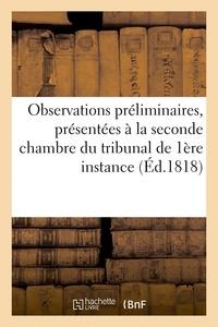 Dunoyer - Observations préliminaires, présentées à la seconde chambre du tribunal de première.
