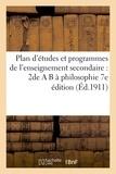Vuibert - Plan d'études et programmes de l'enseignement secondaire : 2de A B à philosophie 7e édition.