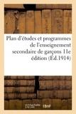 Vuibert - Plan d'études et programmes de l'enseignement secondaire de garçons 11e édition.