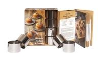 Téléchargement des manuels en français Moelleux, fondants & coulants  - Coffret avec 4 cercles de pâtisserie en métal et 1 livre de 25 recettes originales