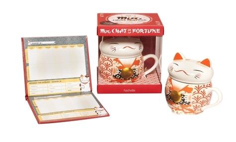 Mug chat de la fortune. Avec 1 mug et 1 carnet de compte japonais