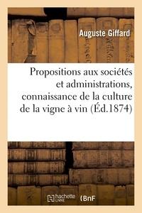 Giffard - Propositions et documents présentés aux diverses sociétés et administrations tendant.